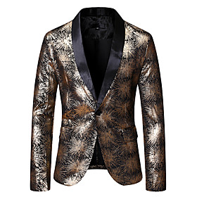 Men's Single Breasted One-button Shawl Lapel Blazer Floral Gold / Silver US32 / UK32 / EU40 / US34 / UK34 / EU42 / US36 / UK36 / EU44