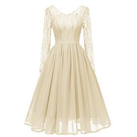 Women's A-Line Dress Knee Length Dress - Long Sleeve Solid Color Lace Patchwork Fall Winter Work Slim 2020 Beige Gray S M L XL XXL