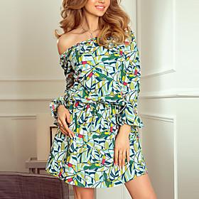 Women's A-Line Dress Short Mini Dress - Long Sleeve Print Ruffle Print Summer Off Shoulder Casual Flare Cuff Sleeve Slim 2020 White Black Green S M L XL XXL