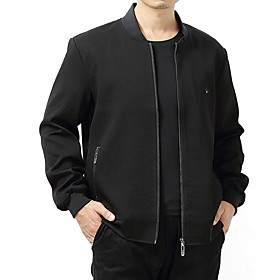 Men's Jacket Regular Solid Colored Daily Basic Long Sleeve Black Dark Gray US34 / UK34 / EU42 US36 / UK36 / EU44 US38 / UK38 / EU46 / Work