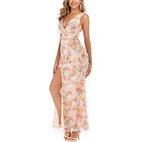 Women's A-Line Dress Knee Length Dress - Sleeveless Print Solid Color Sequins Embroidered Tassel Fringe Summer V Neck Sexy Party Slim 2020 Blushing Pink S M L