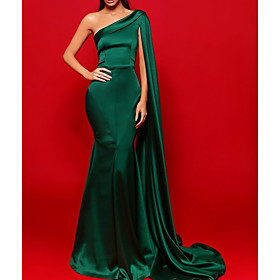 Sheath / Column Beautiful Back Sexy Party Wear Formal Evening Dress One Shoulder Sleeveless Court Train Stretch Satin with Pleats 2020