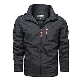 Men's Jacket Regular Solid Colored Daily Basic Black Army Green Khaki M L XL