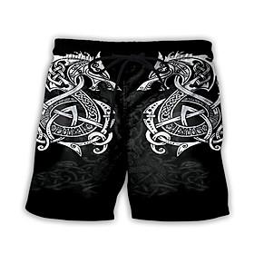 Men's Basic Streetwear Daily Holiday Sweatpants Shorts Pants Print Print Drawstring Breathable Black S M L
