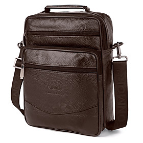 Men's Bags Nappa Leather / Cowhide Crossbody Bag Zipper Solid Color for Daily / Office  Career Black / Brown / Fall  Winter