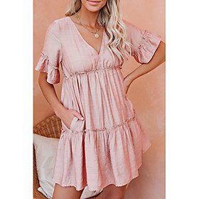 Women's A-Line Dress Knee Length Dress - Short Sleeve Solid Color Backless Ruffle Print Summer V Neck Casual Loose 2020 Red Green Beige S M L XL