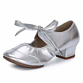 Women Latin Ballroom Modern Dance Practice Performance Shoes Low Heel Silver