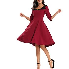 Women's A-Line Dress Knee Length Dress - Half Sleeve Solid Color Summer V Neck Casual Elegant 2020 Wine Navy Blue S M L XL XXL