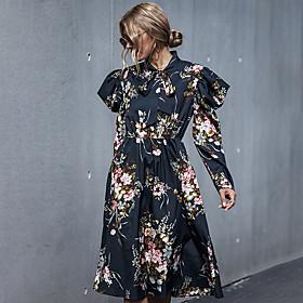 Women's A-Line Dress Knee Length Dress - Long Sleeve Floral Print Fall Winter Casual 2020 Black S M L XL