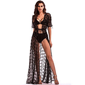 Women's A-Line Dress Maxi long Dress - Half Sleeve Solid Color Backless Sequins Embroidered Summer V Neck Sexy Holiday Loose 2020 White Black S M L XL