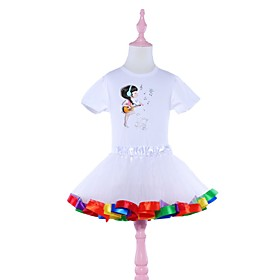 Kids Girls' Basic White Solid Colored Halloween Layered Print Short Sleeve Above Knee Dress White