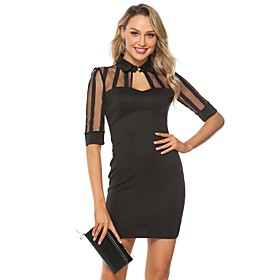 Women's A-Line Dress Short Mini Dress - Half Sleeve Solid Color Backless Embroidered Summer Shirt Collar Sexy Holiday Loose 2020 Black S M L XL XXL