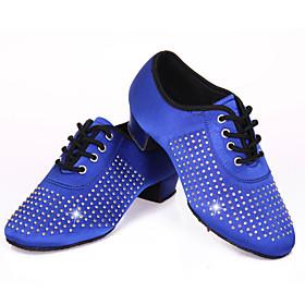Women's Latin Shoes Heel Thick Heel Satin Rhinestone Black / Red / Blue