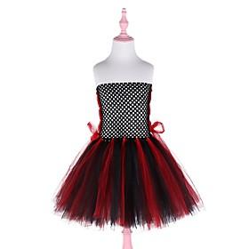 Kids Girls' Basic Color Block Halloween Mesh Sleeveless Above Knee Dress Black
