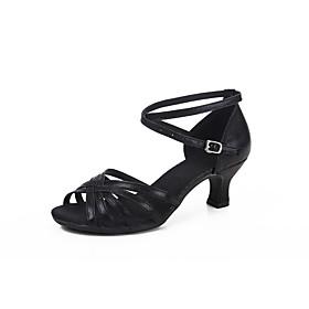 Women's Latin Shoes Heel Cuban Heel PU Black / Red / Blue / Performance / Leather / Practice