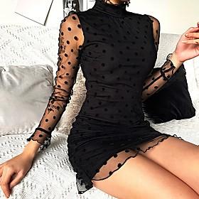 Women's Sheath Dress Knee Length Dress - Long Sleeve Polka Dot Spring Summer Sexy 2020 Black S M L