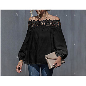 Women's Blouse Shirt Solid Colored Long Sleeve Patchwork Off Shoulder Tops Puff Sleeve Slim Basic Basic Top White Black