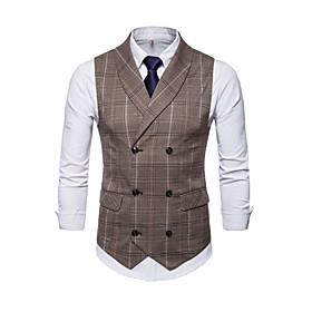 Men's V Neck Fall Vest Regular Plaid Checkered Daily Basic Sleeveless Brown Gray M L XL / Winter