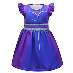 Kids Girls' Basic Blue Solid Colored Halloween Short Sleeve Above Knee Dress Blue
