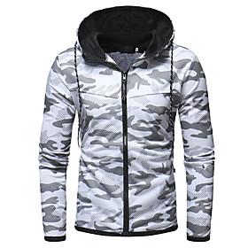 Men's Hoodie Camo / Camouflage Hooded Basic Hoodies Sweatshirts  White Black Navy Blue