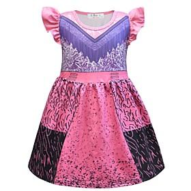 Kids Girls' Basic Color Block Halloween Patchwork Short Sleeve Above Knee Dress Purple