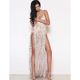 Women's A-Line Dress Maxi long Dress - Sleeveless Solid Color Backless Sequins Embroidered Summer V Neck Sexy Party Club 2020 Black Gold S M L XL / Split