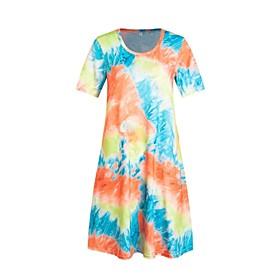 Women's A-Line Dress Knee Length Dress - Short Sleeve Tie Dye Print Summer Casual Going out Slim 2020 Blue Purple Fuchsia Orange Light Blue S M L XL XXL