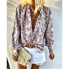 Women's Going out Blouse Shirt Paisley Long Sleeve Print V Neck Tops Lantern Sleeve Chiffon Elegant Boho Basic Top Blushing Pink