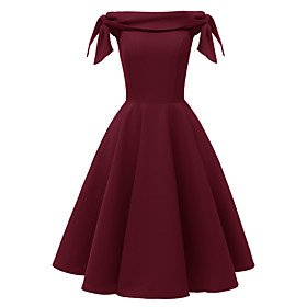 Women's A-Line Dress Short Mini Dress - Sleeveless Solid Color Bow Summer Off Shoulder Sexy Party Slim 2020 Black Red Blushing Pink Wine Green Navy Blue Light