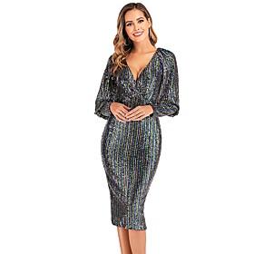 Women's A-Line Dress Midi Dress - Long Sleeve Striped Rainbow Split Patchwork Spring Fall V Neck Elegant Party Club Puff Sleeve 2020 Blue S M L XL XXL