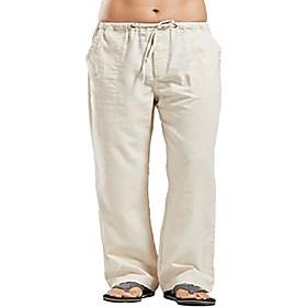 Men's Casual Harem Straight Loose Pants Solid Color Pure Color White Black Blue S M L