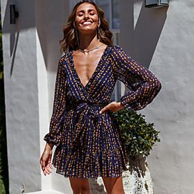 Women's A-Line Dress Short Mini Dress - Long Sleeve Print Print Summer V Neck Casual Sexy Going out Puff Sleeve Slim 2020 Royal Blue S M L