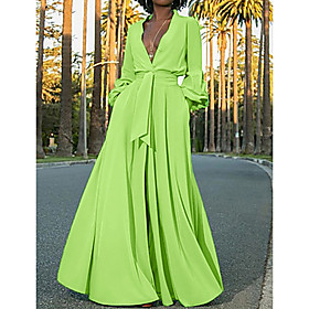 Women's A-Line Dress Maxi long Dress - Long Sleeve Solid Colored Deep V Streetwear Green S M L XL XXL