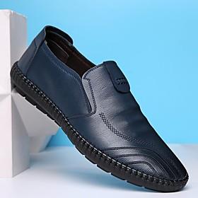 Men's Loafers  Slip-Ons Business / Vintage / British Office  Career PU Breathable Wear Proof Black / Blue / Brown Summer / Fall