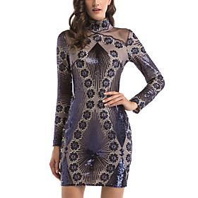 Women's A-Line Dress Short Mini Dress - Long Sleeve Floral Sequins Embroidered Mesh Summer Sexy Party Club 2020 Purple S M L XL