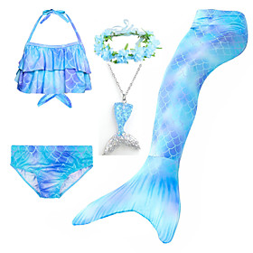 Kids Girls' Active Cute Mermaid Tail Color Block Rainbow Lace up Sleeveless Swimwear Blue