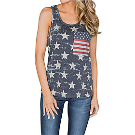 Women's Tank Top Camo / Camouflage National Flag Round Neck Tops Basic Top Blue Red Green