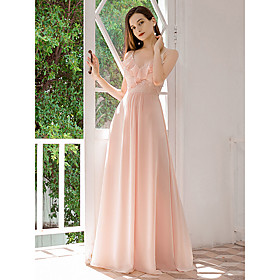 Women's A-Line Dress Maxi long Dress - Sleeveless Solid Color Embroidered Ruffle Spring Summer V Neck Formal Elegant Party Beach Chiffon Loose 2020 Blushing Pi