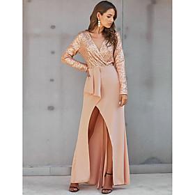 Women's A-Line Dress Maxi long Dress - Long Sleeve Solid Color Sequins Fall V Neck Elegant Party Slim 2020 Black Beige S M L XL