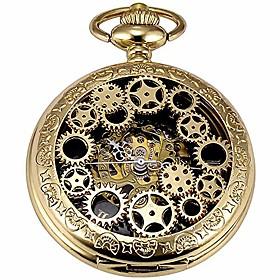 men's vintage gold gear steampunk skeleton mechanical pocket watch with chain best gift (gold gear ch20)