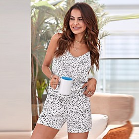Women's Two Piece Set Basic Backless Drawstring Set Tops Pant Set Polka Dot V Neck