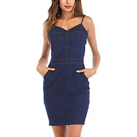 Women's A-Line Dress Short Mini Dress - Sleeveless Solid Color Summer V Neck Sexy Party Going out Slim 2020 Blue S M L XL XXL