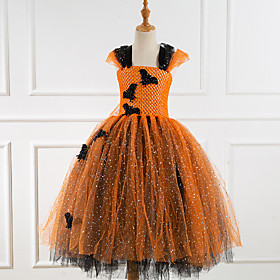Kids Girls' Vintage Cute Patchwork Cartoon Halloween Sequins Layered Patchwork Sleeveless Maxi Dress Orange