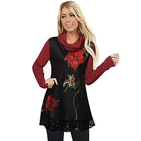 Women's Christmas Tunic Floral Leaf Flower Long Sleeve Sequins Print Cowl Neck Tops Basic Christmas Basic Top Black