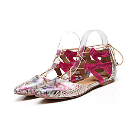 Women's Latin Shoes Flat Flat Heel PU Leather Black / Blue / Beige
