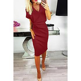 Women's A-Line Dress Knee Length Dress - Short Sleeve Solid Color Ruched Summer V Neck Elegant Loose 2020 Red S M L XL