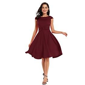 Women's A-Line Dress Knee Length Dress - Sleeveless Solid Color Bow Summer Elegant Party Slim 2020 Black Red Wine Navy Blue S M L XL XXL