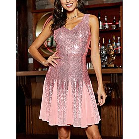 Women's A-Line Dress Knee Length Dress - Sleeveless Solid Color Backless Sequins Fall V Neck Sexy Party Club 2020 White Blushing Pink S M L XL