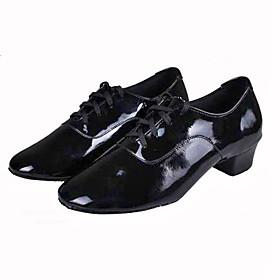 Men's Latin Shoes Heel Cuban Heel PU Black / Performance