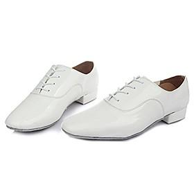 Men's Dance Shoes Modern Shoes / Ballroom Shoes / Practice Trainning Dance Shoes Heel Thick Heel Black / Silver / White / Black / Performance